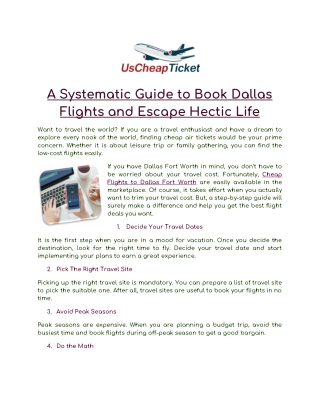 A Systematic Guide to Book Dallas Flights and Escape Hectic Life