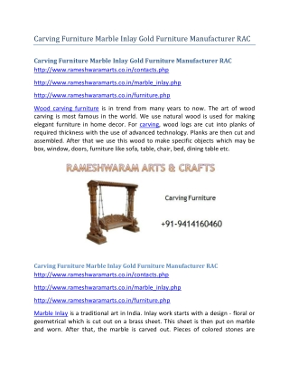 Carving Furniture Marble Inlay Gold Furniture Manufacturer RAC