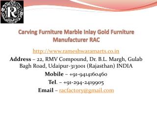 Carving Furniture Marble Inlay Gold Furniture Manufacturer RAC