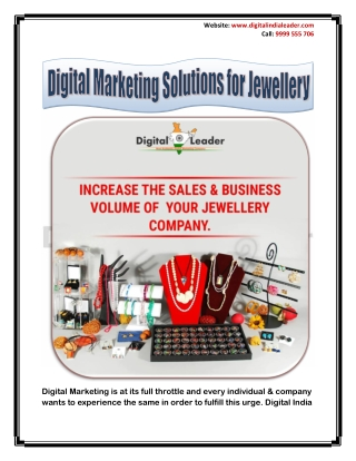 Digital Marketing Solutions for Jewellery | Online Marketing Solutions for Jewellery