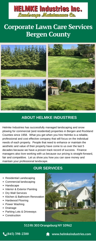 Corporate Lawn Care Services Bergen County