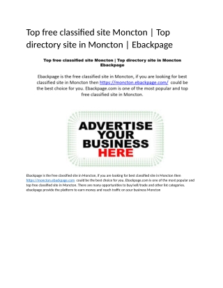 Top free classified site Moncton | Top directory site in Moncton | Ebackpage