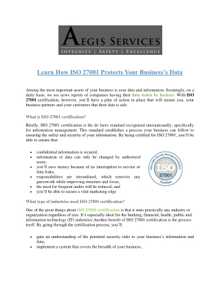 Learn How ISO 27001 Protects Your Business's Data