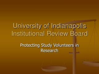 University of Indianapolis Institutional Review Board