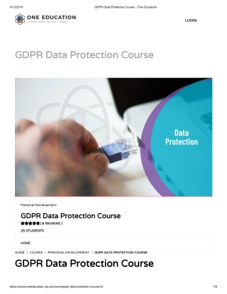GDPR Data Protection Course - One Education