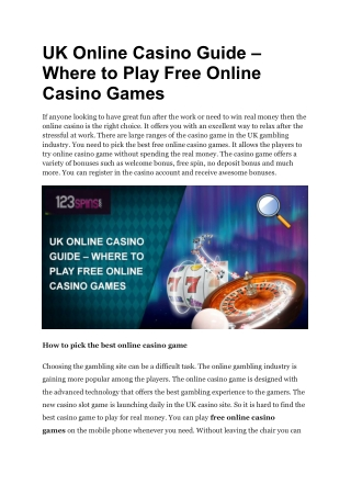 UK Online Casino Guide – Where to Play Free Online Casino Games