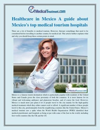 Healthcare in Mexico A guide about Mexico's top medical tourism hospitals