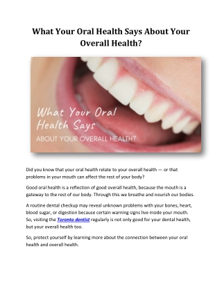 What Your Oral Health Says About Your Overall Health?