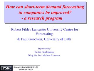 How can short-term demand forecasting in companies be improved - a research program