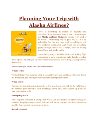 Planning Your Trip with Alaska Airlines