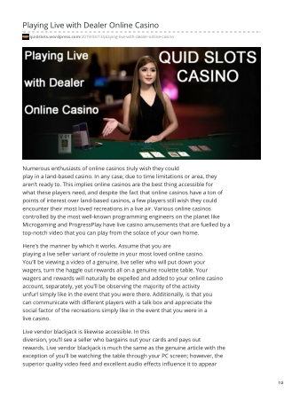 Playing Live with Dealer Online Casino