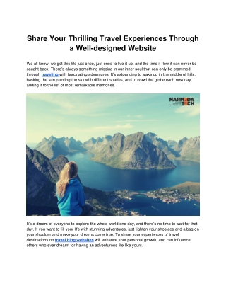 Share Your Thrilling Travel Experiences Through a Well-designed Website