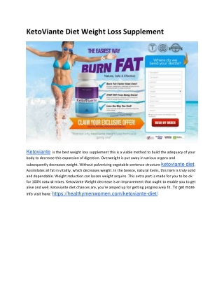 Ketoviante Diet Weight Loss Pill