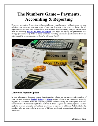 The Numbers Game - Payments, Accounting & Reporting | eBusiness Guru