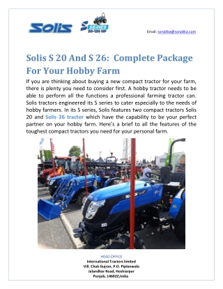 Solis S 20 And S 26:  Complete Package For Your Hobby Farm