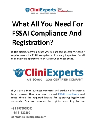 What all you need for FSSAI compliance and registration?