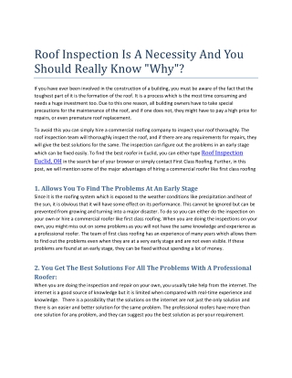 Roof inspection in a necessity and you should really know Why?
