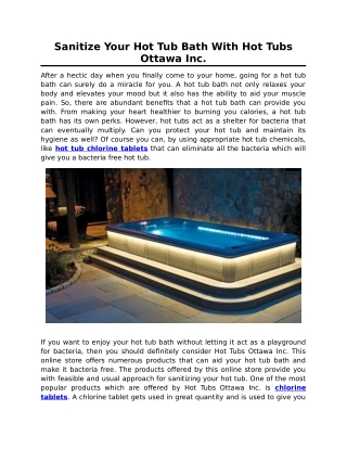 Sanitize Your Hot Tub Bath With Hot Tubs Ottawa Inc.