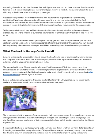 The Top Reasons People Succeed In The Cars Bouncy Castle Hire Industry