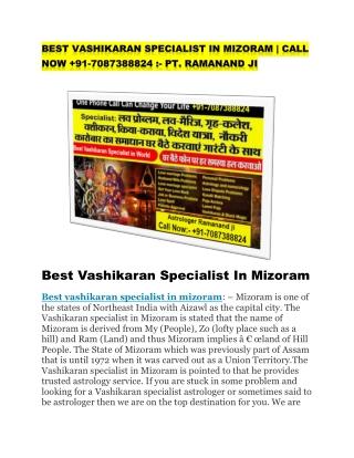 Best vashikaran specialist in mizoram
