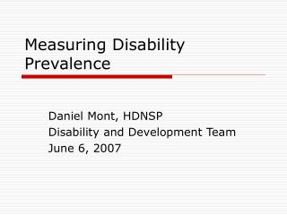 Measuring Disability Prevalence