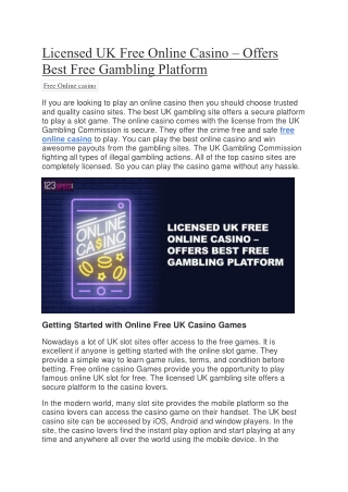 Licensed UK Free Online Casino – Offers Best Free Gambling Platform