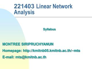 221403 Linear Network Analysis