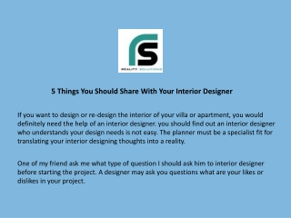 5 Things You Should Share With Your Interior Designer