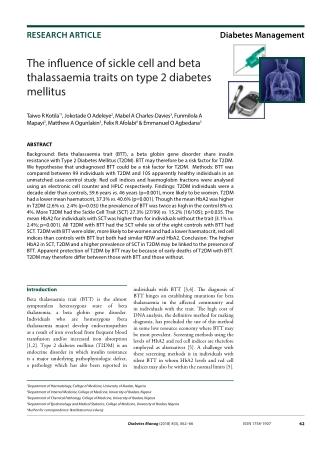 The influence of sickle cell and beta thalassaemia traits on type 2 diabetes mellitus