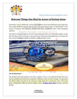 Neelam Stone Benefits