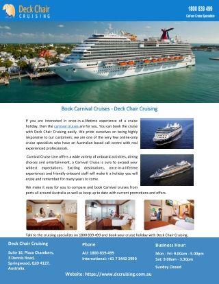 Book Carnival Cruises - Deck Chair Cruising
