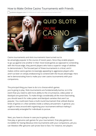 How to Make Online Casino Tournaments with Friends