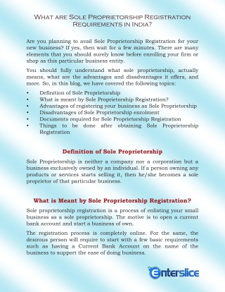 Sole Proprietorship Registration Requirements in India