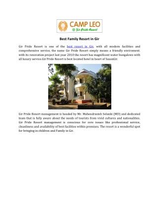 Best Family Resort in Gir