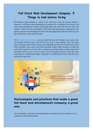 Full Stack Web Development Company: 5 Things to look before hiring