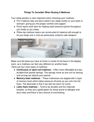 Things To Consider When Buying A Mattress - Shop Gamble Home Furniture