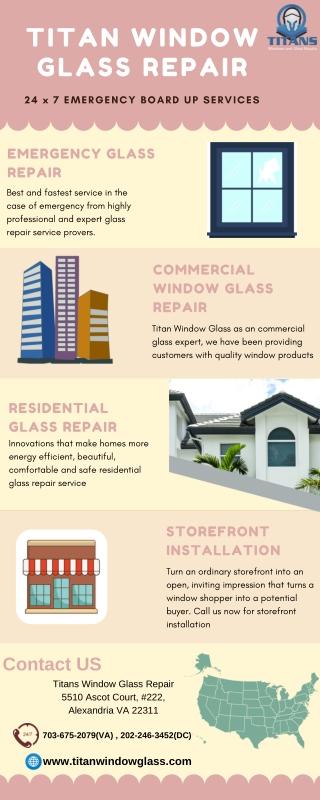 Call us for Emergency glass repair service in Alexandria VA