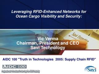 Leveraging RFID-Enhanced Networks for Ocean Cargo Visibility and Security: