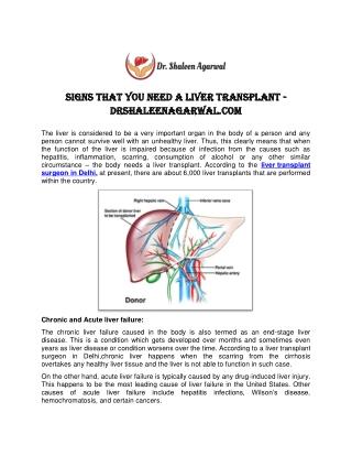 Senior Liver Transplant Surgeon in Delhi