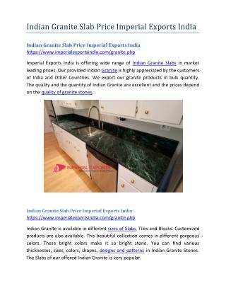 Indian Granite Slab Price Imperial Exports India