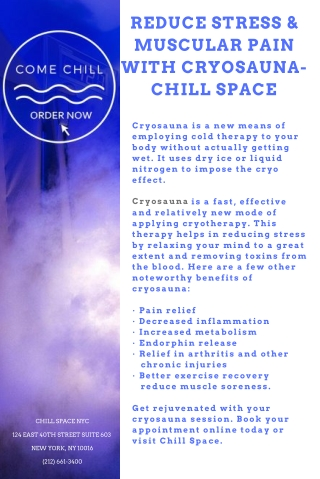 Reduce Stress & Wrinkles with Cryosauna: Chill Space