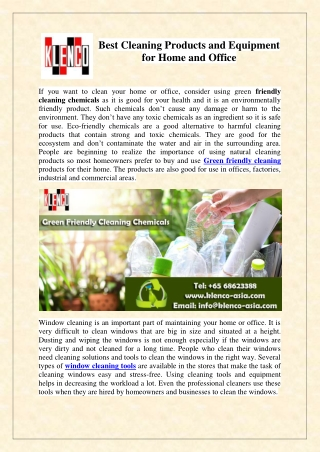 Green friendly cleaning products