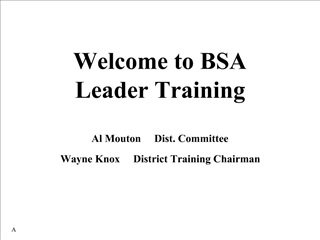 Welcome to BSA Leader Training  Al Mouton     Dist. Committee Wayne Knox     District Training Chairman
