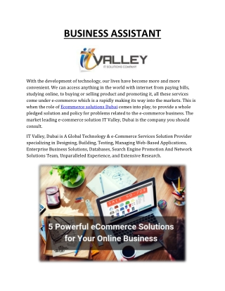 Digital Solution and End to End Ecommerce Solution in Dubai