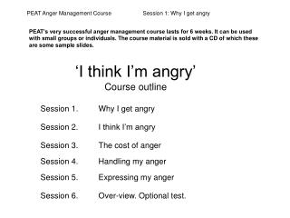 I think I m angry  Course outline