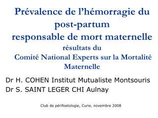 Prévalence de l'hémorragie du post-partum  responsable de mort maternelle résultats du  Comité National Experts sur la M