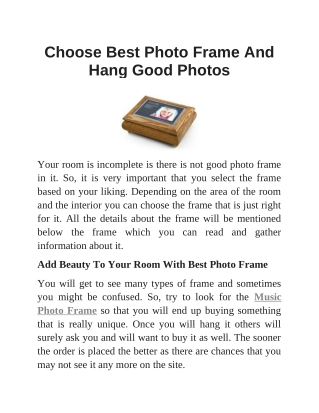 Choose Best Photo Frame And Hang Good Photos