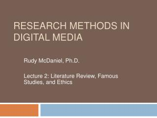 Research Methods in Digital Media