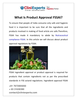 What Is Product Approval FSSAI?