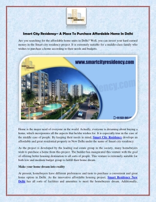Smart City Residency - A Place To Purchase Affordable Home In Delhi